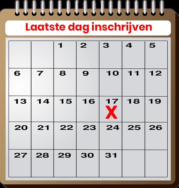 calendar inschrijven
